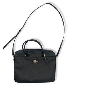 Coach Leather Black Laptop Bag Brief Case Crossbod